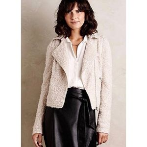 Anthropologie Elevenses M Boucle Wool Moto Jacket